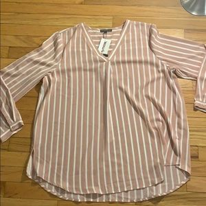 Adrianna Papell XL Top Rose and White NWT